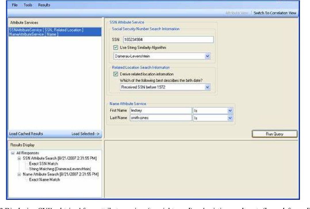 Fig. 2 Displaying GUI's obtained from attribute services (top right panel) and existing results sets (lower left panel)