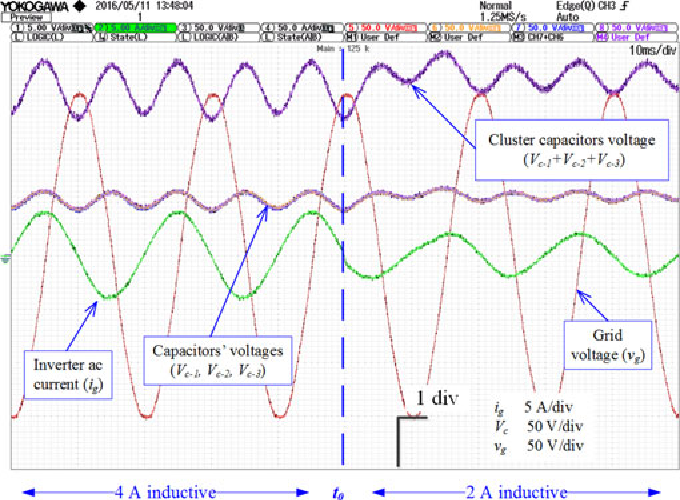 Fig. 11. Operation of compensated LC-StatCom system when the reactive current reference changes from 4-A inductive to 2-A inductive at t0 .