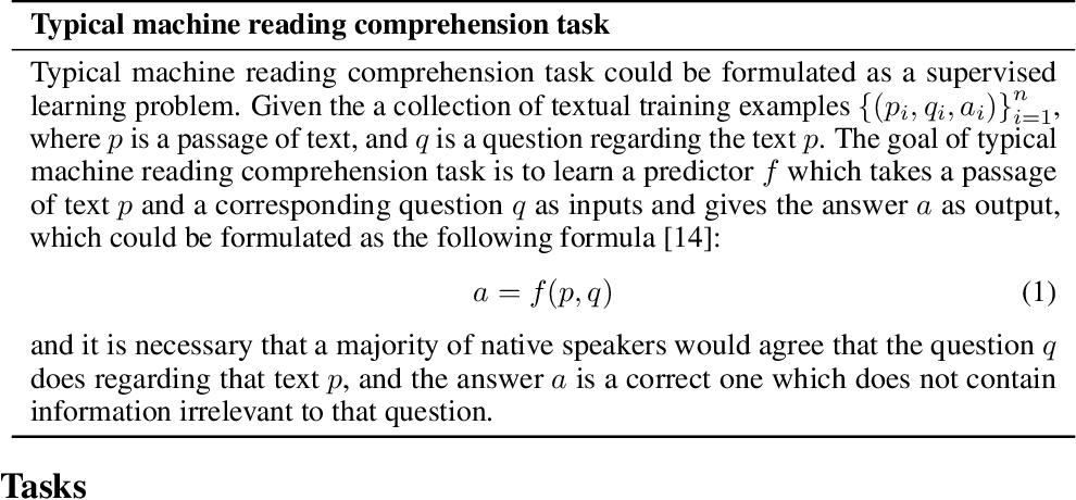 Figure 2 for A Survey on Machine Reading Comprehension: Tasks, Evaluation Metrics, and Benchmark Datasets