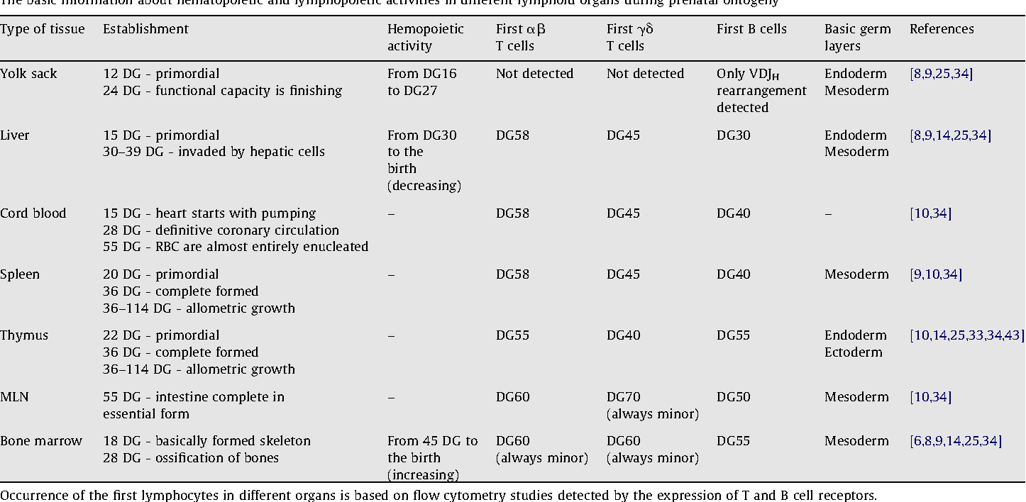 Table 1 From The Ontogeny Of The Porcine Immune System Semantic