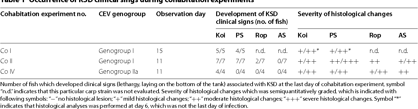 Table 1 Occurrence ofKSD clinical sings duringcohabitation experiments