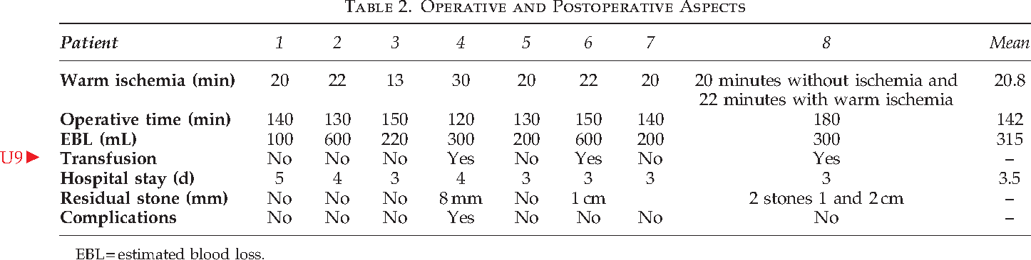 Table 2. Operative and Postoperative Aspects