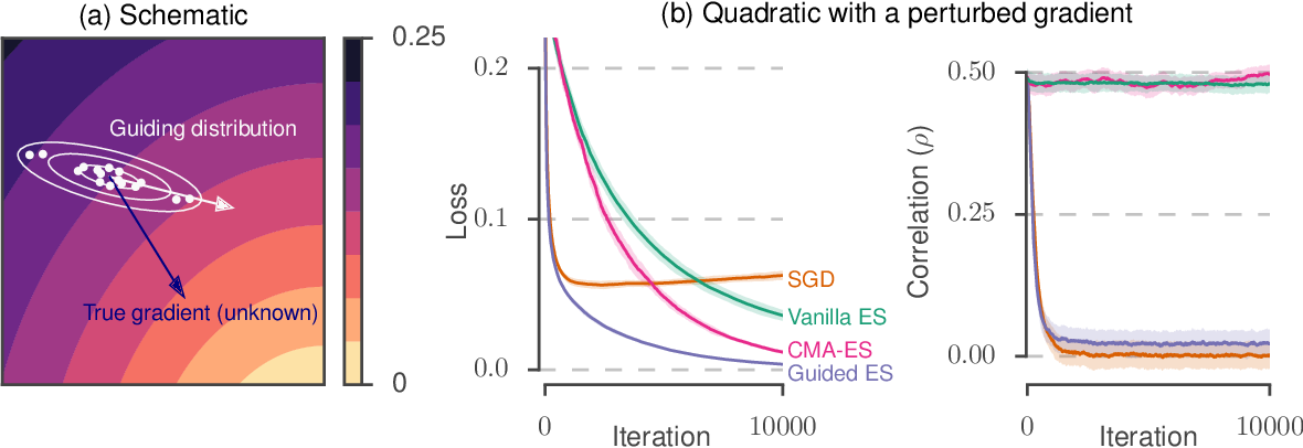 Figure 1 for Guided evolutionary strategies: escaping the curse of dimensionality in random search
