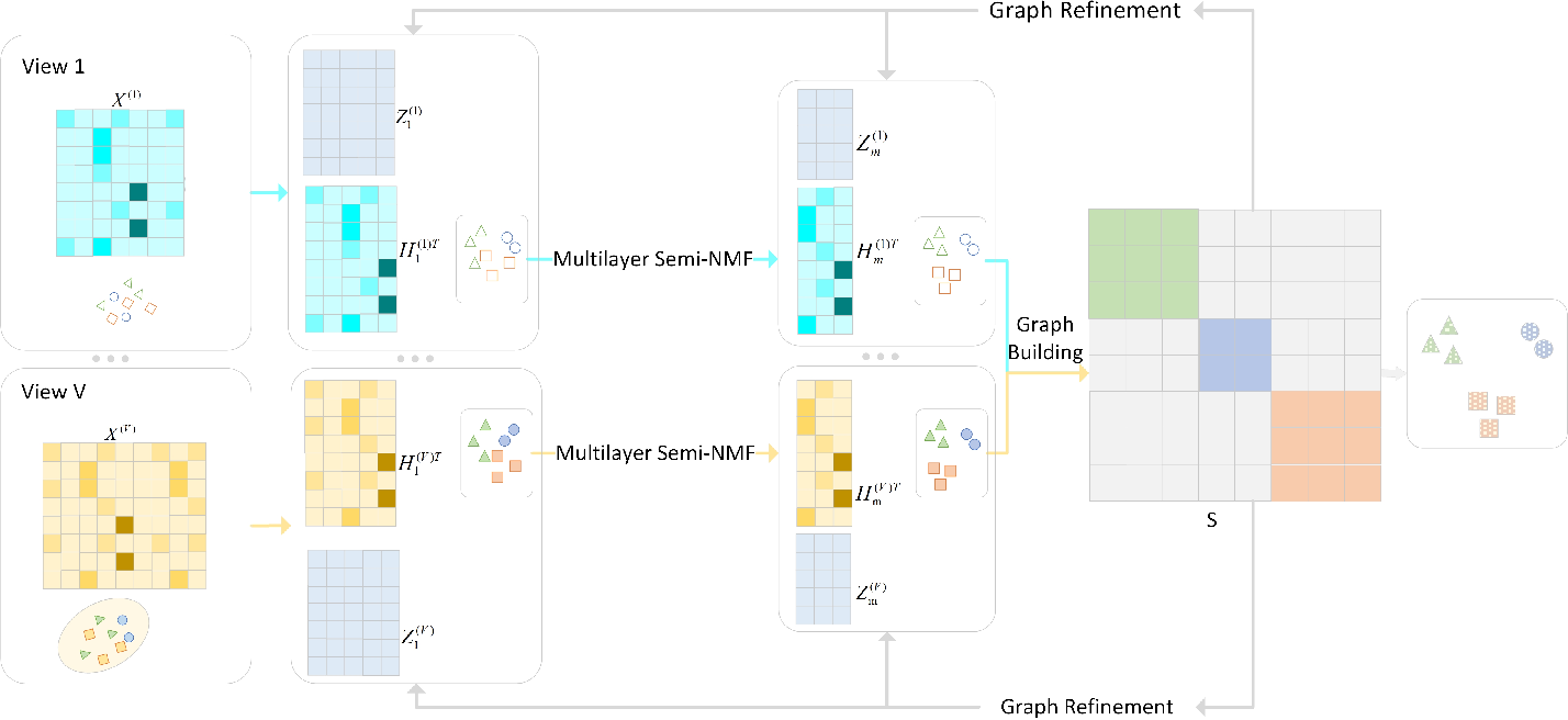 Figure 1 for Multi-view Clustering with Deep Matrix Factorization and Global Graph Refinement