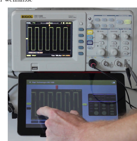 Figure 1: Tablet device running TouchScope app (bottom), synchronized with Rigol oscilloscope (top)