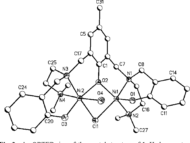 figure 2 from mixed bridged dinuclear ni ii plexes synthesis He Atom fig 2 an ortep view of the crystal structure of 1 hydrogen atoms have