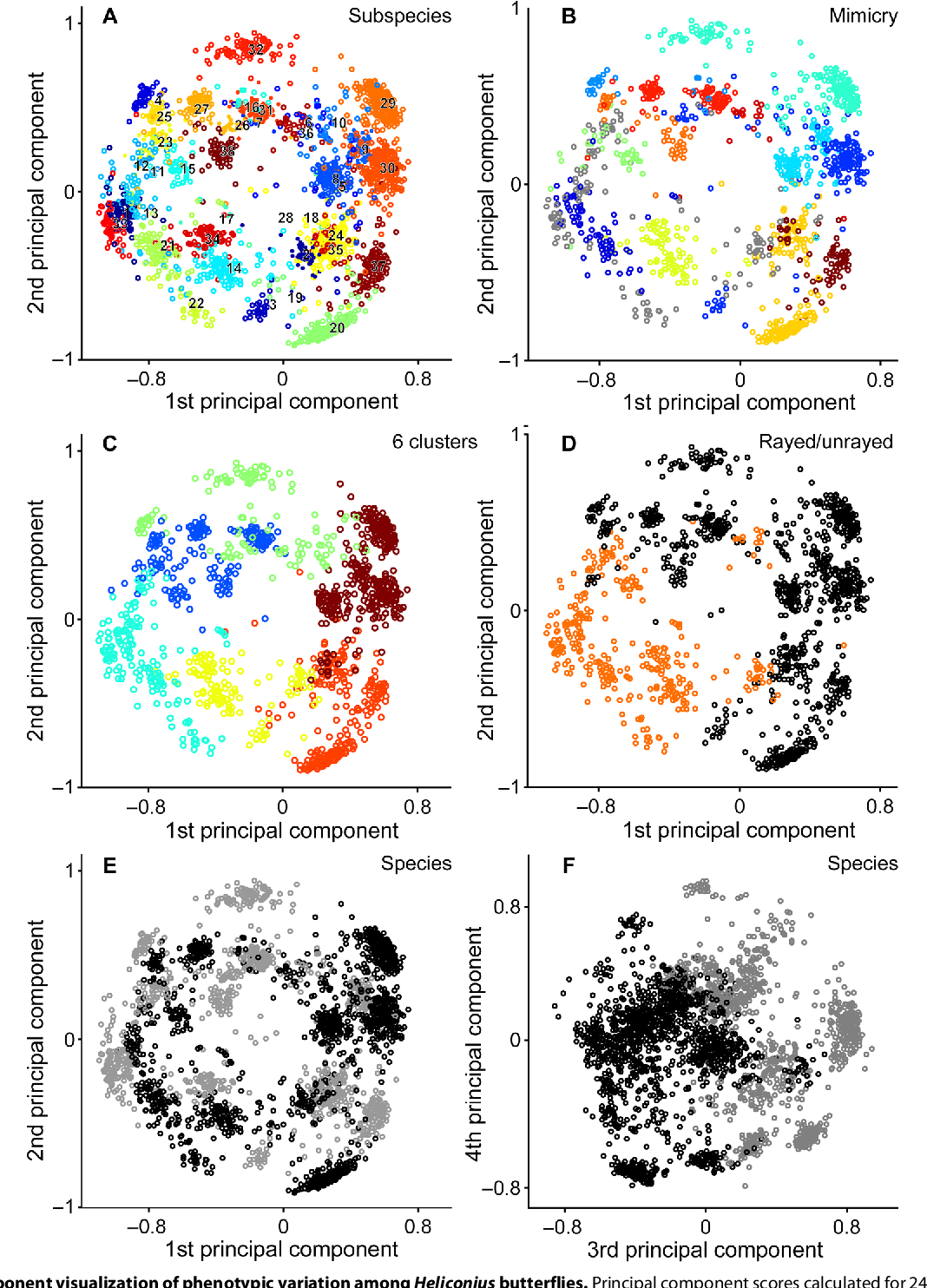Figure 3 for Deep learning on butterfly phenotypes tests evolution's oldest mathematical model