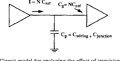 Fig. 5. Circuit model for analyzing the effect of transistor sizing.
