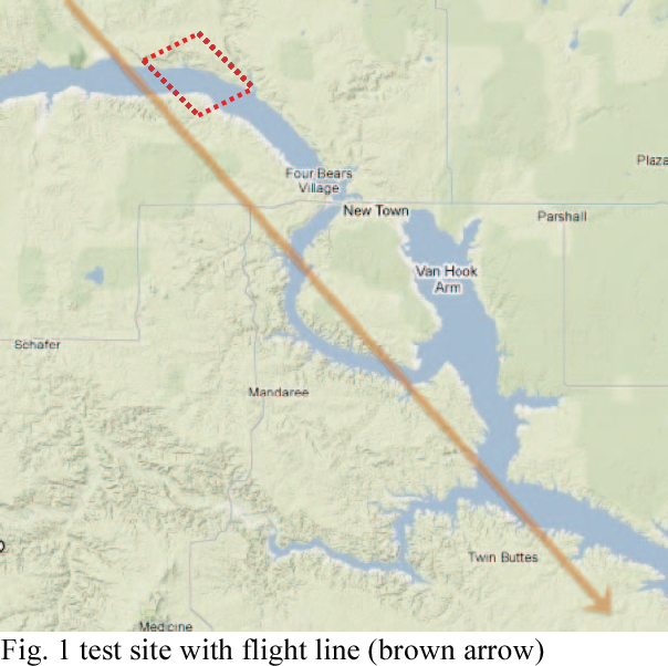 Fig. 1 test site with flight line (brown arrow)