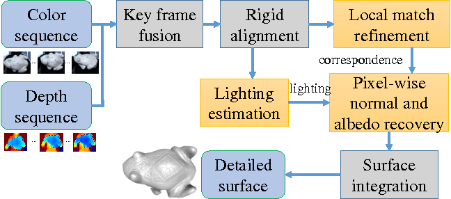 Figure 1 for Detailed Surface Geometry and Albedo Recovery from RGB-D Video Under Natural Illumination