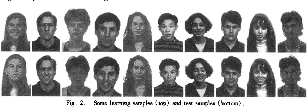Fig. 2 . Some learning samples (top) and test samples (bottom) .