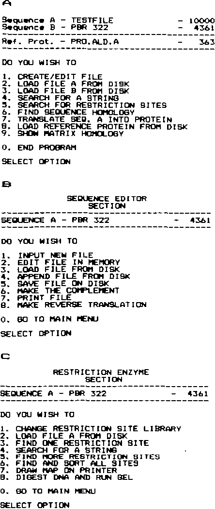 A fast DNA sequence handling program for Apple II computer in BASIC