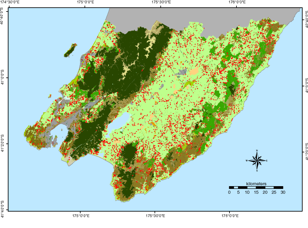 Fig. 4 Land Cover Database (LCDB) map of the Wellington region, showing newly identified woody patches in pasture, as red.