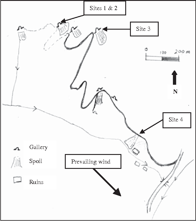 FIG. 2. Location of sample sites at Tistoulet Mine (after Berbain et al., 2006).