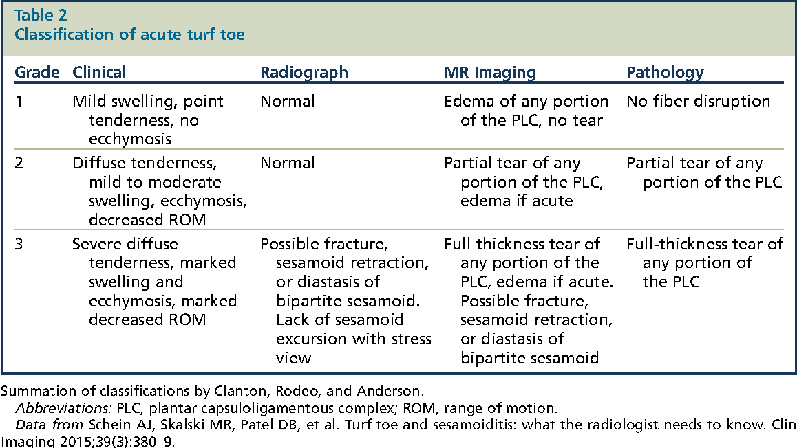 Table 2 from Imaging of Turf Toe. - Semantic Scholar