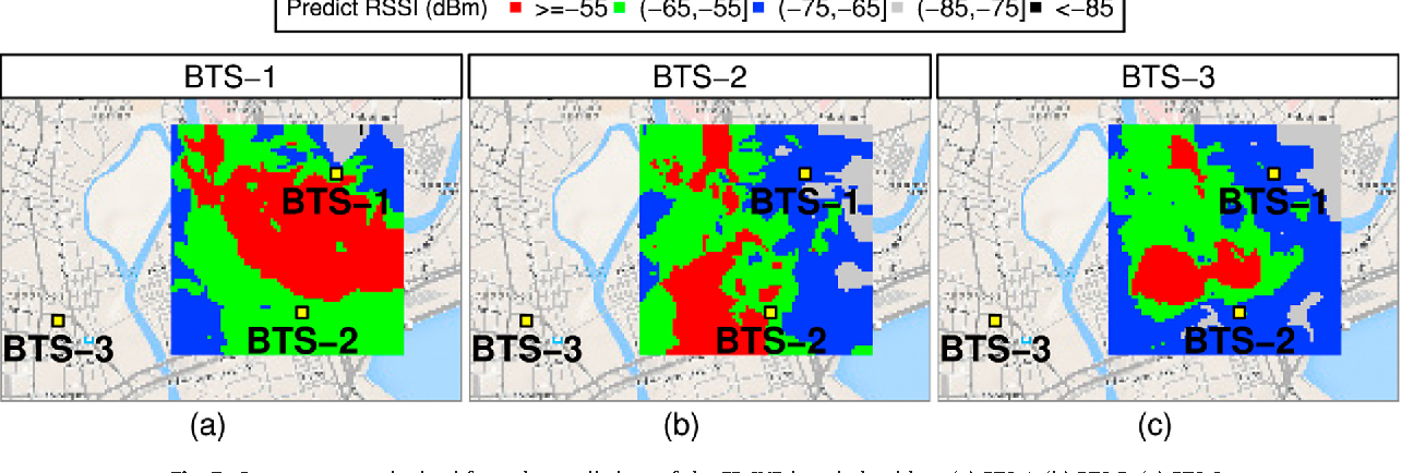 Fig. 7. Coverage maps obtained from the predictions of the FP SVR-based algorithm: (a) BTS-1. (b) BTS-2. (c) BTS-3.