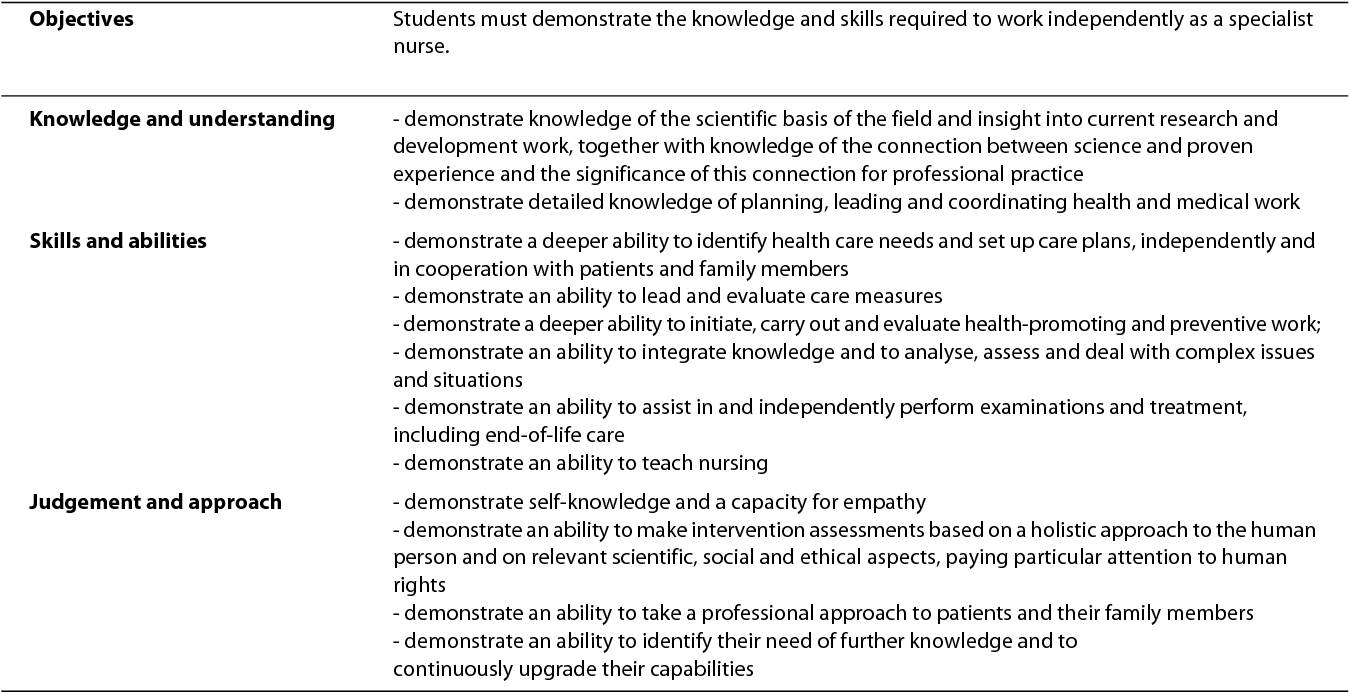 47cb4eeb4fa Table 1: Objectives for a Graduate Diploma in Specialist Nursing  independent of specialisation according to