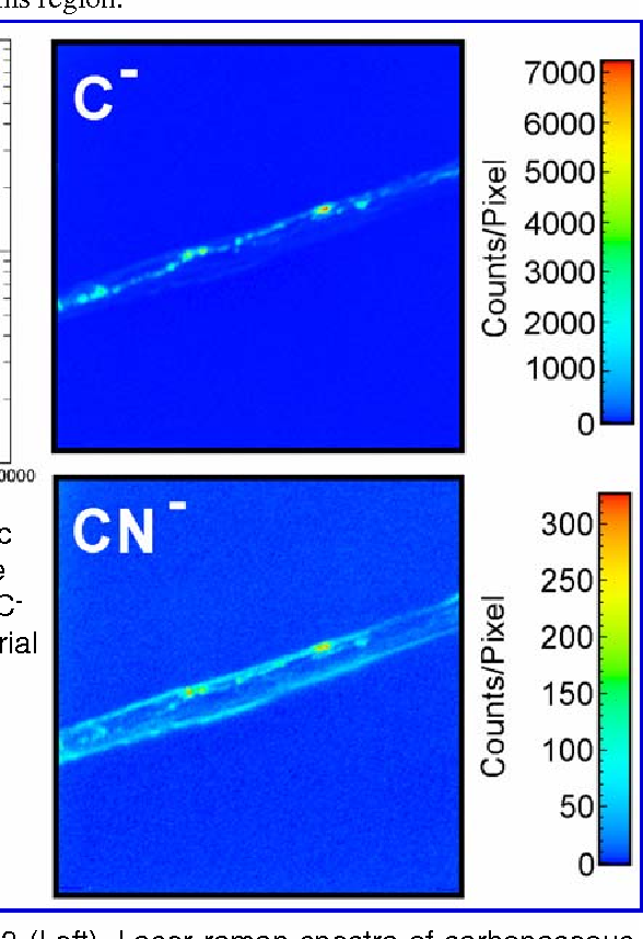 Fig 2. NanoSIMs analyses of epoxy and dendritic vein-filling material (above) showing that both are composed of carbon with distinctly different CN-/Cratios. NanoSIMs maps (right) of dendritic material show the distribution of C- and CN- ions.