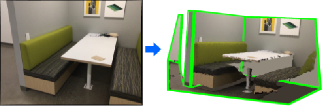 Figure 1 for General 3D Room Layout from a Single View by Render-and-Compare