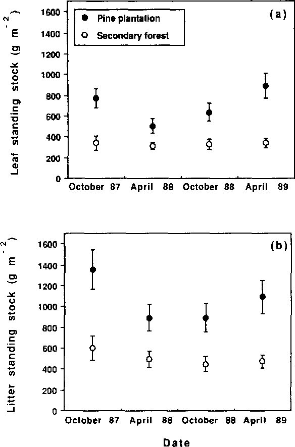 Fig. 5. Seasonal pattern of standing stock of (a) leaf litter and (b) total litter in a Pinus caribaea plantation and a paired native secondary forest. Values are means -+95% confidence intervals (n = 24).