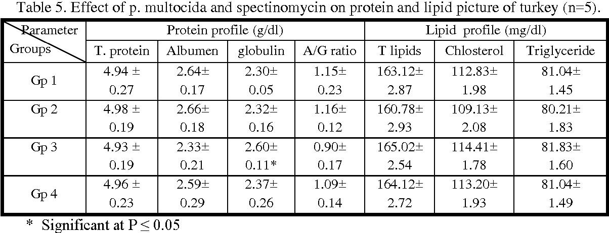Table 5. Effect of p. multocida and spectinomycin on protein and lipid picture of turkey (n=5).