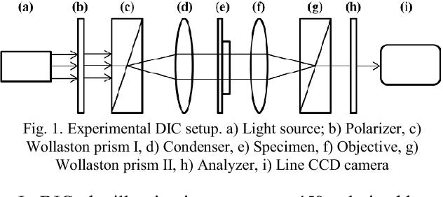 Fig. 1. Experimental DIC setup. a) Light source; b) Polarizer, c) Wollaston prism I, d) Condenser, e) Specimen, f) Objective, g) Wollaston prism II, h) Analyzer, i) Line CCD camera