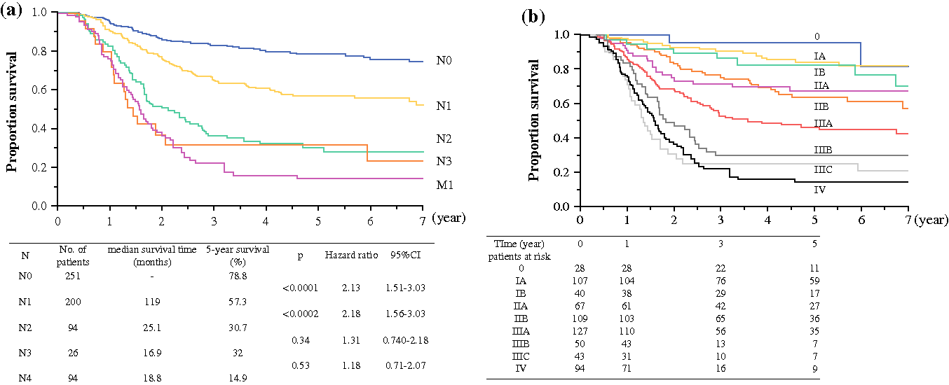 FIG. 1 Kaplan–Meier overall survival curves for 665 patients. The patients were stratified by a lymph node status (N), b pStage grouping according to the 7th edition of the UICC TNM staging system