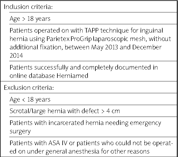 Table I from Reduction of chronic post-herniotomy pain and ...