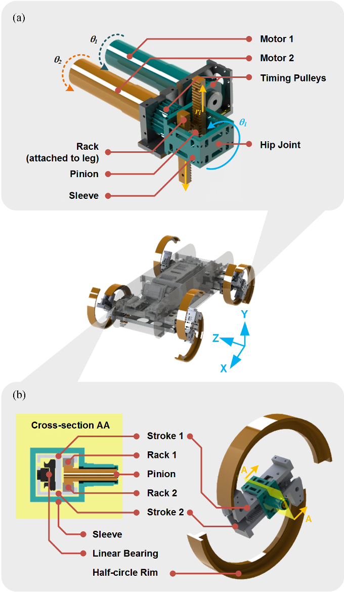 Fig. 3. Leg–wheel driving and transformation mechanism of TurboQuad: (a) the 2-DOF driving mechanism and (b) the transformable leg–wheel module.