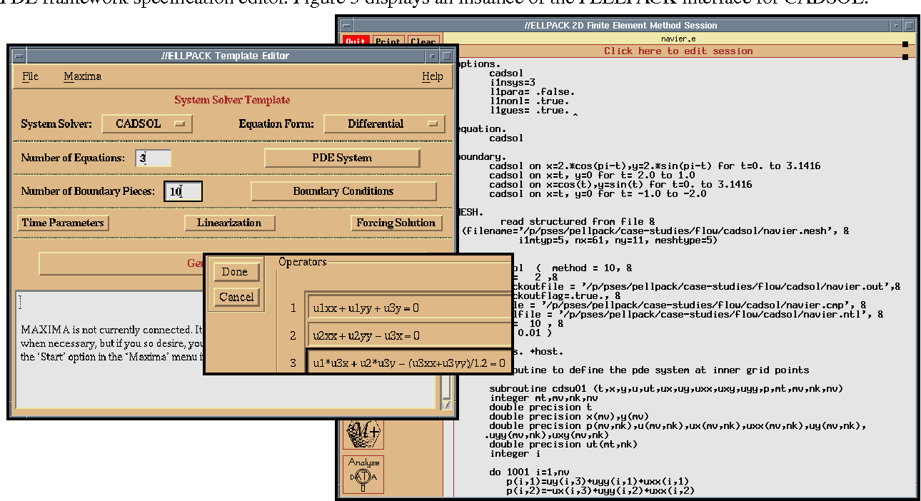 FIGURE 5. An instance of the PELLPACK interface for the CADSOL framework
