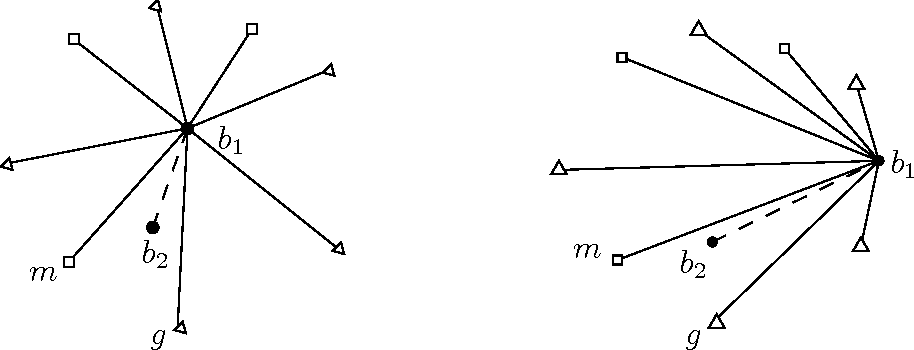 Figure 11: Left: No black vertex on H. Right: One black vertex on H.