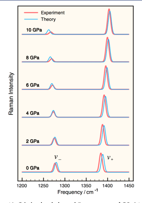 Figure 10. Calculated and observed Raman spectra of CO2-I in the symmetric stretching (Fermi-resonance) region. Reprinted with permission from ref 31, J. Chem. Phys. 2013, 138, 074501. Copyright 2013 AIP Publishing LLC.