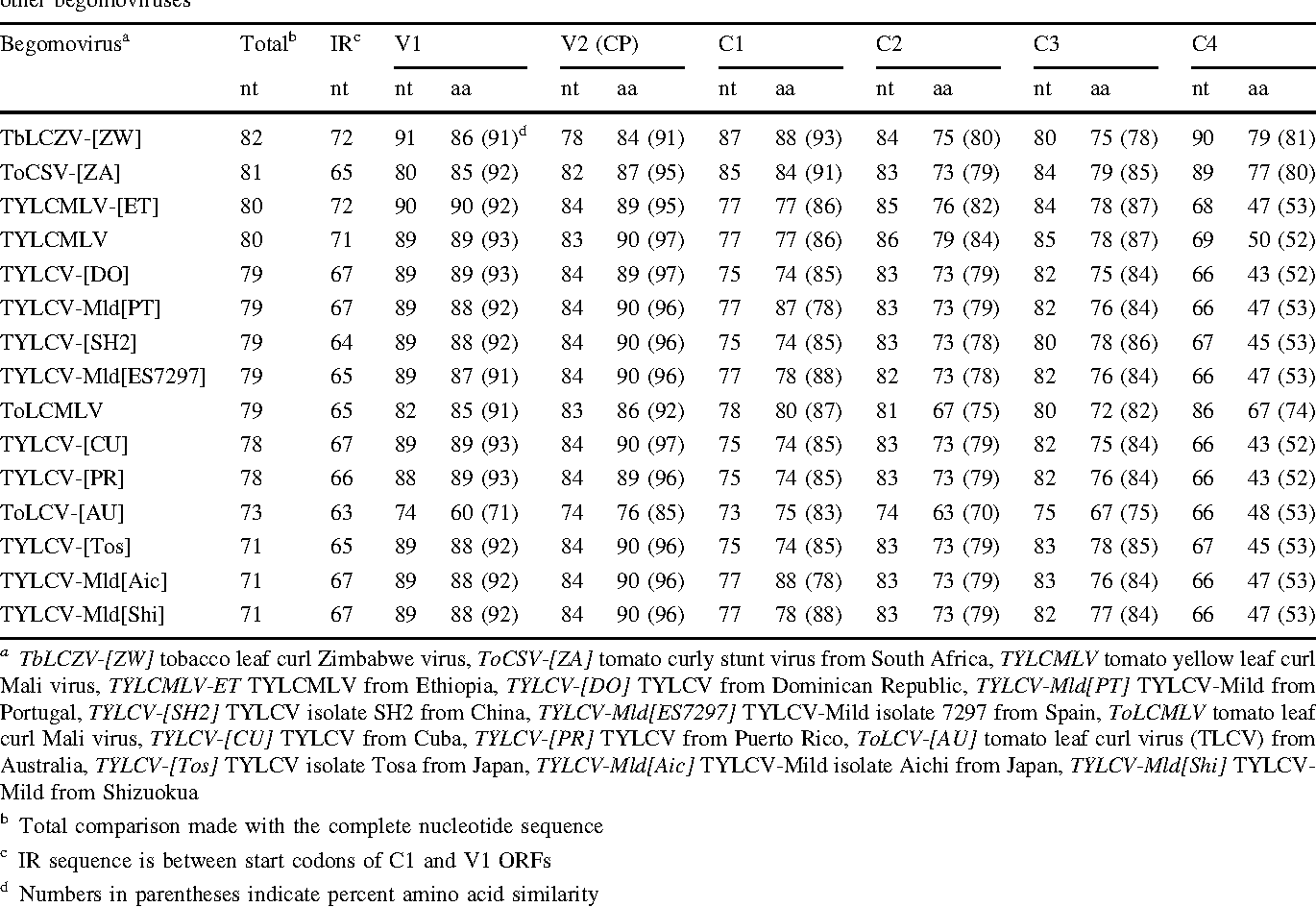 Table 3 Percent nucleotide identities for the DNA component and intergenic region (IR) and nucleotide and derived amino acid identities and similarities between open reading frames of the pepper-associated begomovirus (tomato yellow leaf crumple virus [ToYLCrV]) and those of other begomoviruses