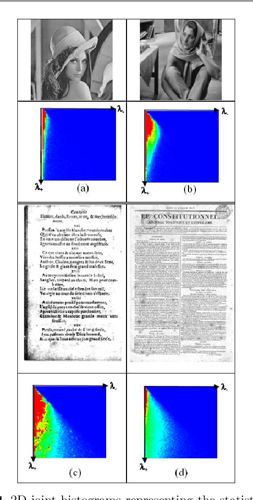 Fig. 14 2D-joint histograms representing the statistical cooccurrence of eigen-values λ+ and λ− for natural images of (a) Lena and (b) Barbara and for document images of (c) the book of Nostradamus (pp.18/127)[54] and (d) a Journal in low resolution [55].