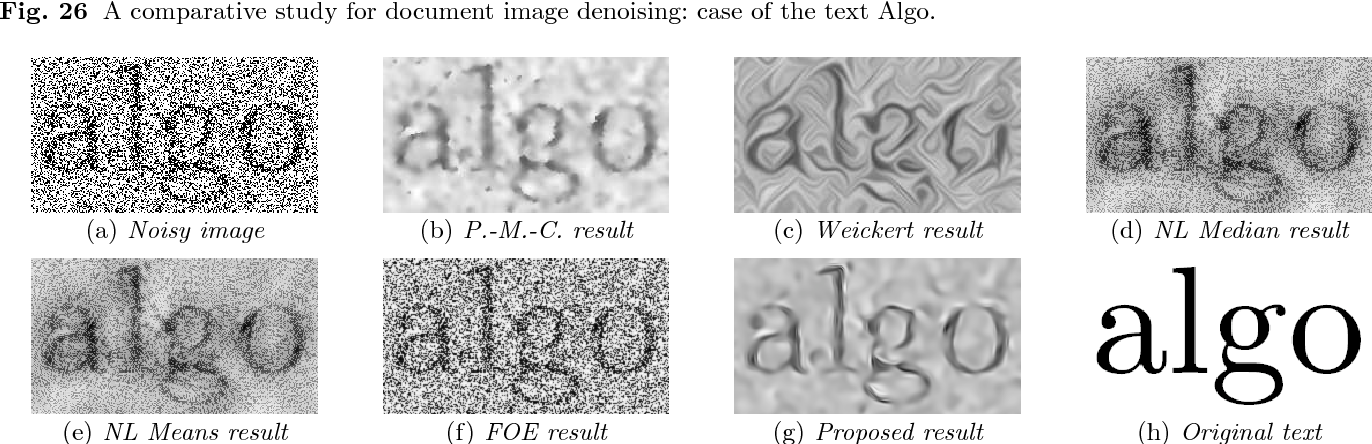 Fig. 27 A comparative study for document image denoising: case of the text Algo with a noisy background.