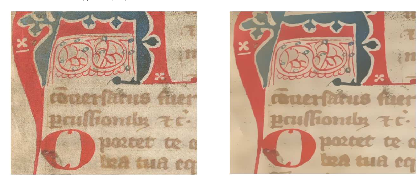 Fig. 29 From left to right respectively : Original image (source IRHT) and its restored version with our proposed diffusion filter.