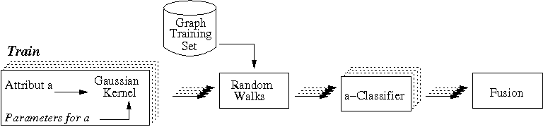 Fig. 3. Fusion of attribute kernels at learning step. For each attribute, a Gaussian kernel is computed with the corresponding parameter. For each of these attribute kernels, the random walk function creates a different classifier using the graphs extracted from the training database. Finally, classifiers are merged using a linear combination.