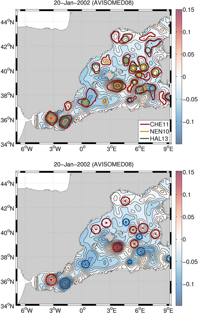 Figure 1. (top) Map of altimetry SLA on 20 January 2002 with eddies detected from the three different methods. the HAL13 method does not provide the shape of the detected eddy so a circle of the eddy radius has been plotted. (bottom) Map of altimetry SLA on 20 January 2002 with cyclones (in blue) and anticyclones (in red) resulting from the combination of the methods.
