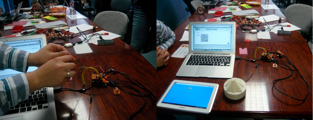 Figure 13. The implementation of a design idea with ECCE during the second workshop: (left) a participant connecting the sensors and, (right) the final implementation.