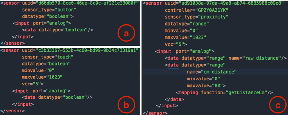 Figure 5. Excerpts from the XML file with the templates for the definition of sensors: (a) a button; (b) a touch sensor and; (c) a proximity sensor.