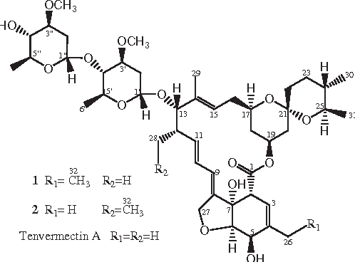 Figure 1.the structures of 1, 2 and tenvermectin a.