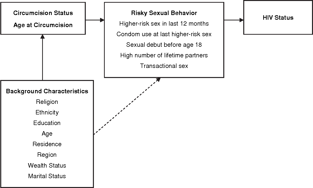 Figure 1. Conceptual framework showing relationship between male circumcision, age at circumcision, risky sexual behavior and HIV status