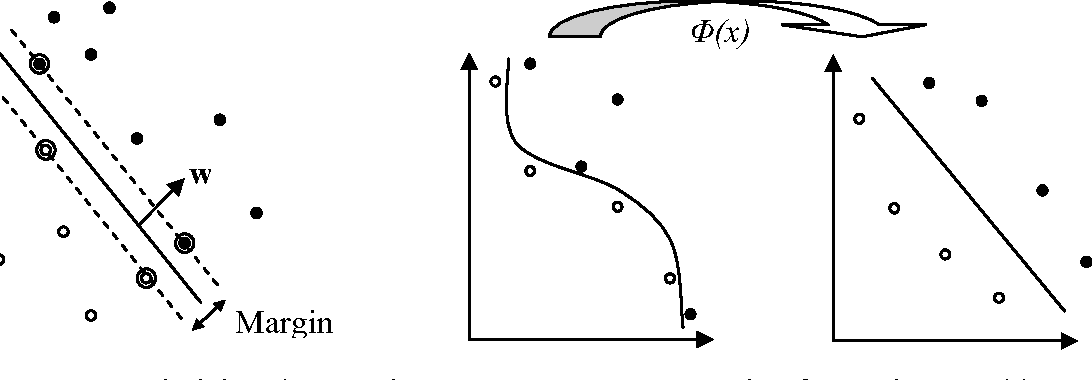Figure 3. Maximizing the margin of separating hyperplanes; the circled points are support vectors.