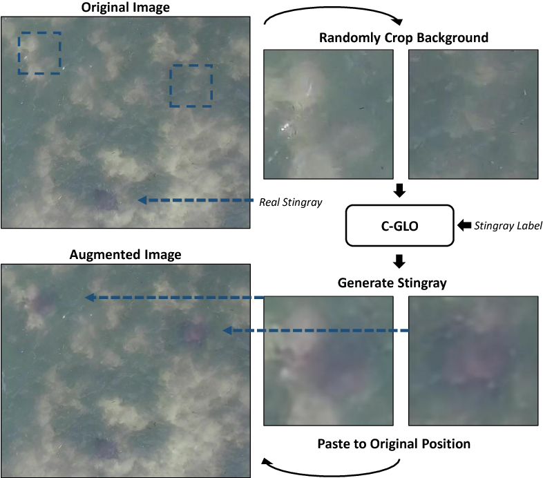 Figure 3 for Stingray Detection of Aerial Images Using Augmented Training Images Generated by A Conditional Generative Model