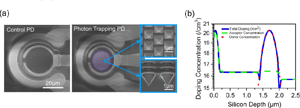 Figure 3 for Avalanche Photodetectors with Photon Trapping Structures for Biomedical Imaging Applications