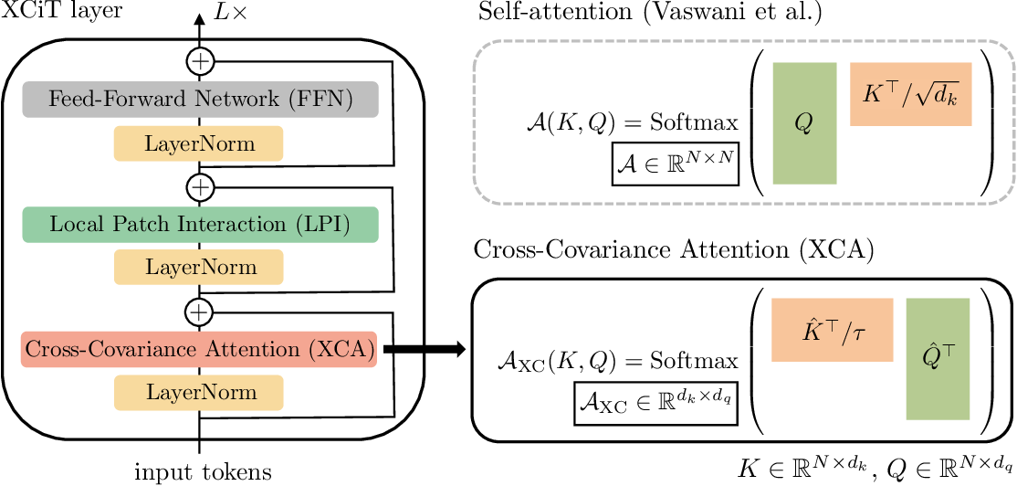 Figure 1 for XCiT: Cross-Covariance Image Transformers