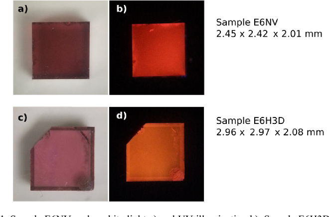Fig. 1. Sample E6NV under white light a) and UV illumination b). Sample E6H3D under white light c) and UV illumination d).