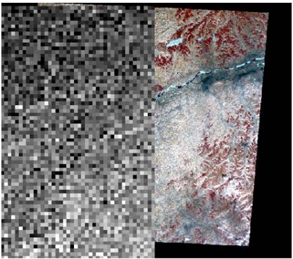 Figure 2. The matching picture of MODIS water content image and ASTER VNIR image