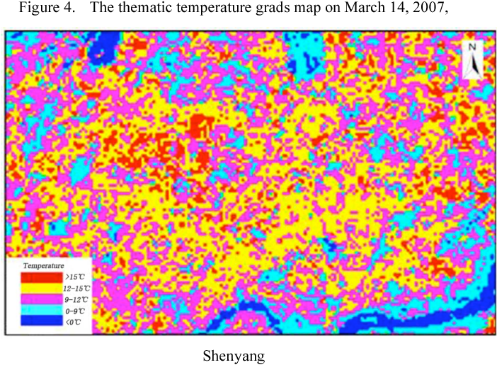 Figure 4. The thematic temperature grads map on March 14, 2007,