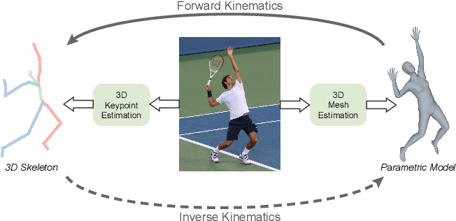 Figure 1 for HybrIK: A Hybrid Analytical-Neural Inverse Kinematics Solution for 3D Human Pose and Shape Estimation